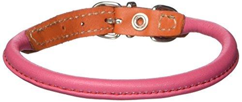 Calf Collar - Petego La Cinopelca Soft Calfskin Two Color Tubular Dog Collar, Fuchsia/Orange, Fits 11-Inch to 13-Inch