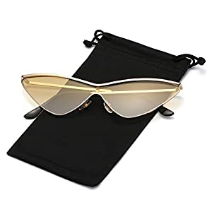 Cateye Sunglasses for Women and Men Metal Triangle Frame Retro Vintage Mod Shades Tinted Color Lens, Gold Frame with Candy Yellow Gradient Lens