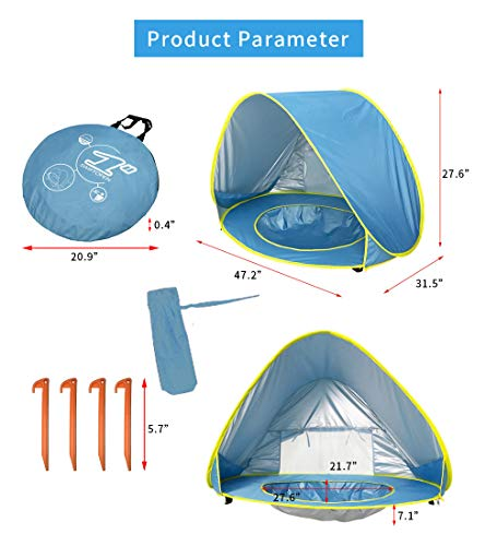 Baby Beach Tent,Pop Up UPF 50+ UV Protection & Waterproof Sun Shelter Baby Pool Canopy Beach Tent Instant Sunshade Cabana Beach Canopy with Carry Bag and 4 Pegs