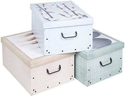 3 DEBAJO DE LA CAMA PLEGABLE cartón Cajas Almacenaje Ligero Con ...