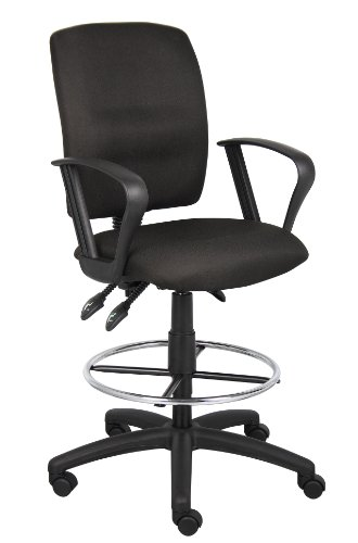 Boss Office Products B1637-BK Multi-Function Fabric Drafting Stool with Loop Arms in Black