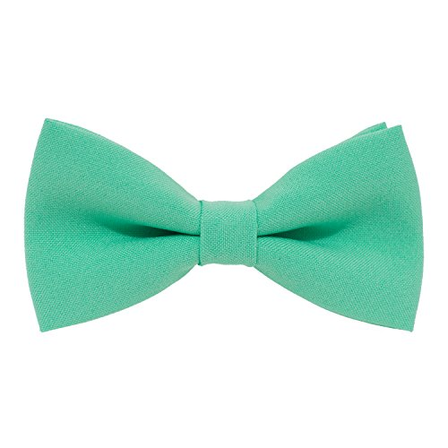 Classic Pre-Tied Bow Tie Formal Solid Tuxedo, by Bow Tie House (Small, Green Mint)