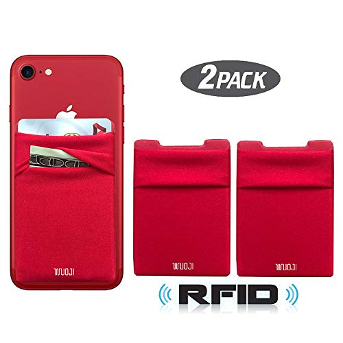 Red Rubber Cell Phone - [2pc] RFID Blocking Phone Card Wallet - Double Secure Pocket - Ultra-Slim Self Adhesive Credit Card Holder Card Sleeves Phone Wallet Sticker All Smartphones (Red)