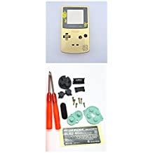 Gametown Full Housing Shell Case Cover Pack with Screwdriver for Nintendo Game boy Color GBC Repair Part-Gold Pikachu
