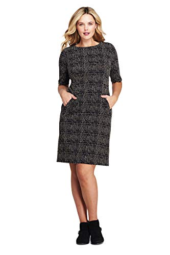 (Lands' End Women's Plus Size Ponte Knit Sheath Tweed Dress with Elbow Sleeves, 22W, Black/Tan Texture)