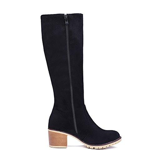 AllhqFashion Damen Mittler Absatz Blend-Materialien Reißverschluss Rund Zehe Stiefel, Blau, 42