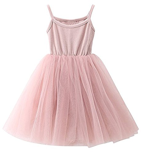(GSVIBK Baby Girls Tutu Dress Toddler Sleeveless Sunderss Straps Tulle Dress Holiday Tutu Dresses for Girl 36M Pink 580)