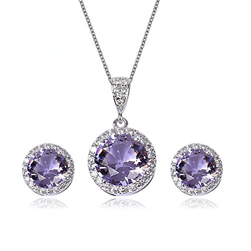 - AMYJANE Amethyst Jewelry Set for Bridesmaids - Sterling Silver Round Purple Cubic Zirconia Crystal Bridal Pendant Necklace Earrings Set for Wedding Bride Bridesmaids