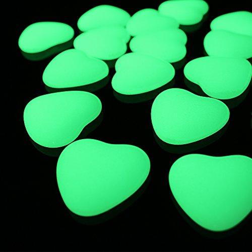 Glow in the Dark Garden Artificial Onyx DIY Decorative Pebble Stone (Heart Shape 3cm, Yellow (Shape Onyx)