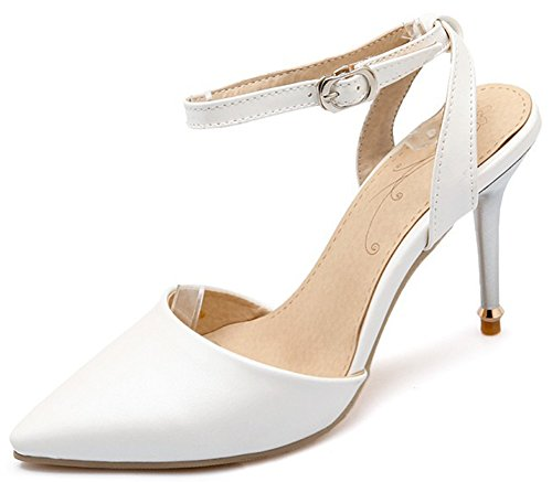 Women Ankle Pointed Toe Sandals High Heels Shoes (White) - 9
