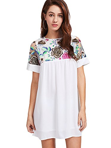 er Embroidery Mesh Sheer Chiffon Tunic Dress White S ()