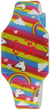 Moulin Girl's Emoji Jelly Watch White Unicorns Rainbow Stripes with Stainless Steel Back #03088.77056