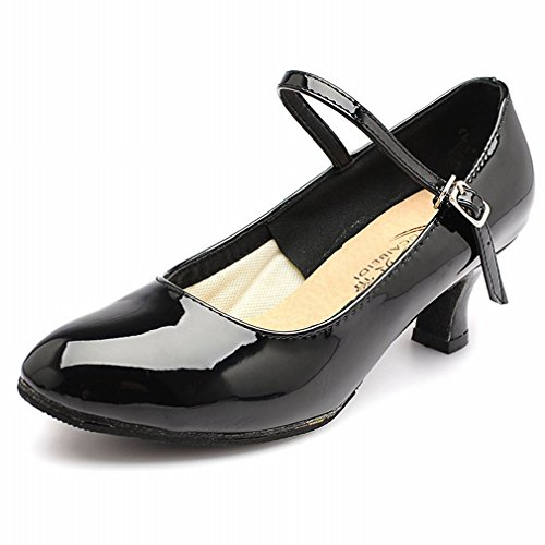 Modern Leather Latin Dance Sandals Leather Dance Onecolor Adult Shoes Strap Soft Bright Ankle BYLE Shoes Jazz Samba Women's Size XdgPXw