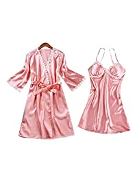 Chinashow Womens Satin Pajamas Set Sexy Ice Silk Suit Set Sleepwear/Nightwear Clothes, Pink #D