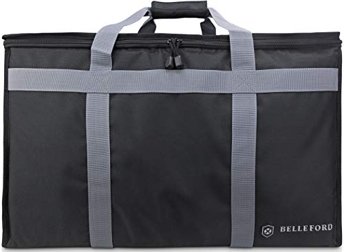 Insulated Food Delivery Bag - Waterproof Warmer Cooler Grocery Storage Bags - Restaurant Buffet Server, Warming Tray, Lunch Container Store - Steamer, Pizza Box, Chafing Dish & Casserole Carrying -