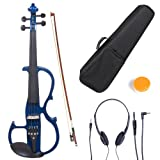 Cecilio CEVN-2BL Ebony Fitted Silent Electric Violin, Style 2, Metallic Blue, Size 4/4 (Full Size)