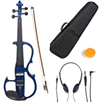 Cecilio CEVN-2BL Style 2 Silent Electric Solid Wood Violin with Ebony Fittings in Metallic Blue, Size 3/4