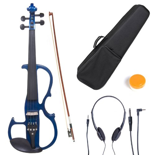 - Cecilio 3/4 CEVN-2BL Solid Wood Electric/Silent Violin with Ebony Fittings in Style 2 - Blue Metallic