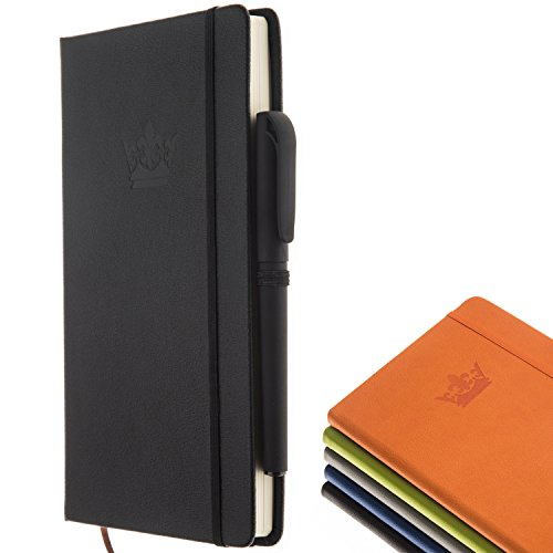 Classic Notebook with Pen - A5 Wide Ruled Leather Hardcover Writing Notebook 100 Sheets / 200 Pages - Perfect Journals to Write in by DIGGOLD (Black)