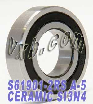 61901-2RS Hybrid Ceramic Miniature Ball Bearing 12x24x6 mm, Stainless, ABEC-5, Sealed