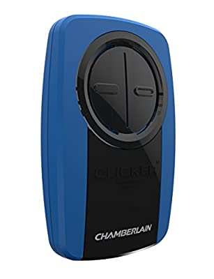 Chamberlain Group KLIK3U-BK Clicker Universal 2-Button Garage Door Opener Remote, Works with Chamberlain, LiftMaster, Craftsman, Genie and More, Security +2.0 Compatible, Includes Visor Clip, Black