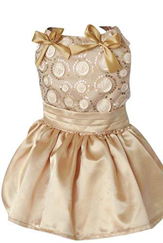Dogloveit Silk Princess Tutu Wedding Dress Dog Clothes For Puppy Cat,Champagne,Large