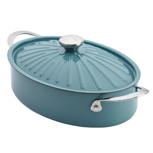 Rachael Ray Cucina Hard Porcelain Enamel Nonstick Covered Oval Sauteuse, 5-Quart, Agave Blue