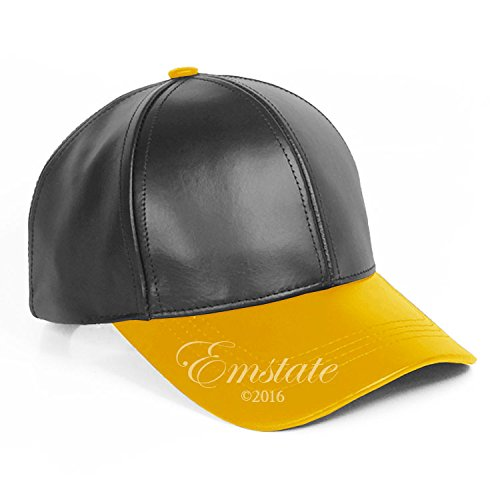 Emstate Genuine Cowhide Leather Unisex Adjustable Baseball Cap Made in USA (Black/Gold)