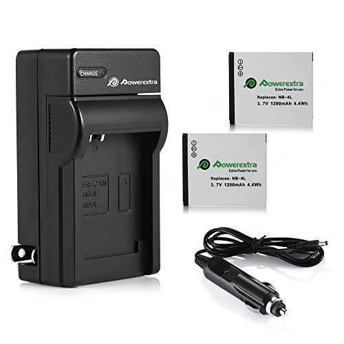Powerextra 2 Pack Battery and Charger Kit for Canon NB-4L, CB-2LV and Canon ELPH 330 HS, ELPH 300 HS, VIXIA mini, ELPH 100 HS, ELPH 310 HS, Powershot SD1400 IS, SD750, SD1000, SD600, SD1100 IS