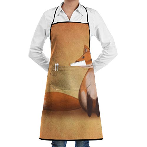 LALACO-Design Smiling Fox Cooking Women Kicthen Bib Aprons with Pockets for Chef,Grandma Suitable for Baking,Grilling,Painting Even Fit for Arts,Holiday]()