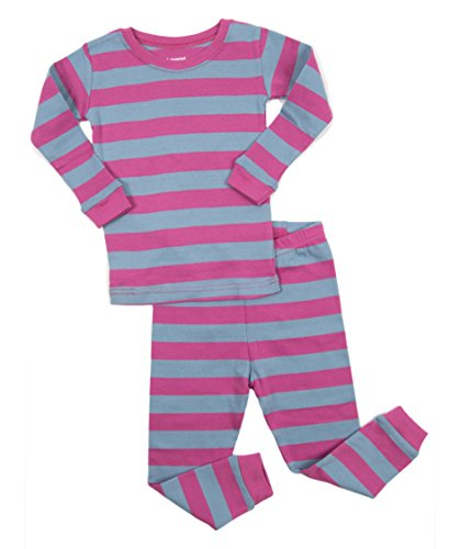 Leveret Striped Kids & Toddler Girls Pajamas 2 Piece Pjs Set 100% Cotton (12-18 Months, Purple & Denim)