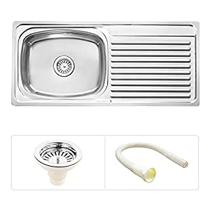 Ruhe S67 Bowl With Drain Board Kitchen Sink, Silver, Glossy Finish