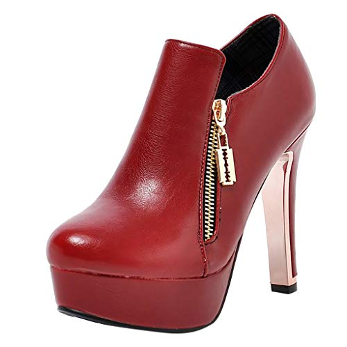 (JJHAEVDY Womens Leather Stilettos Heel Pumps Zipper Platform Knight Ankle Booties Fashion Party Dress Shoes)