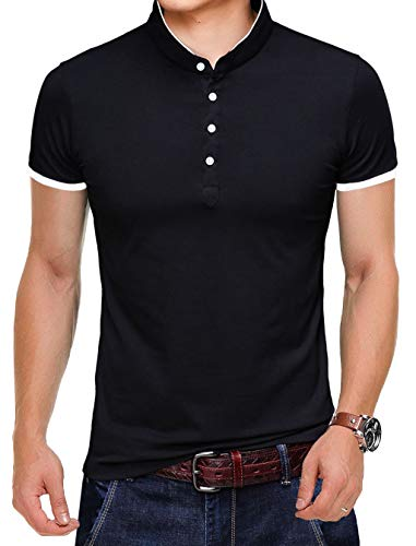 - KUYIGO Men's Casual Slim Fit Shirts Pure Color Short Sleeve Polo Fashion T-Shirts