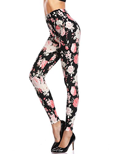 KIRA Print Leggings for Women Sexy Smooth Floral Patterned Slimm fit Girls (Spandex Floral Leggings)