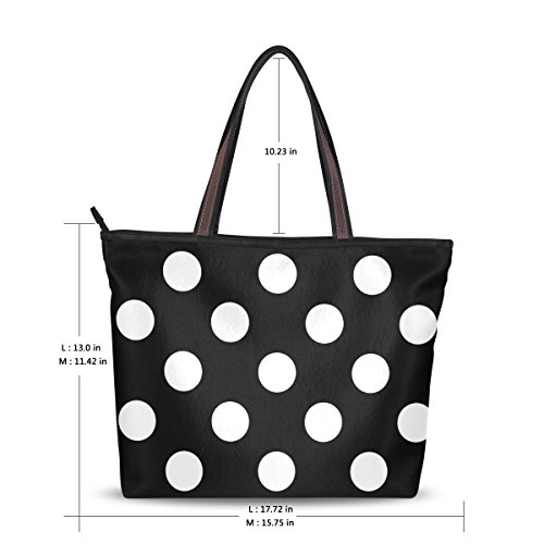 Dot Polka Classic Women Black Large Shoulder Tote Bag MyDaily White Handbag PYUHqY0