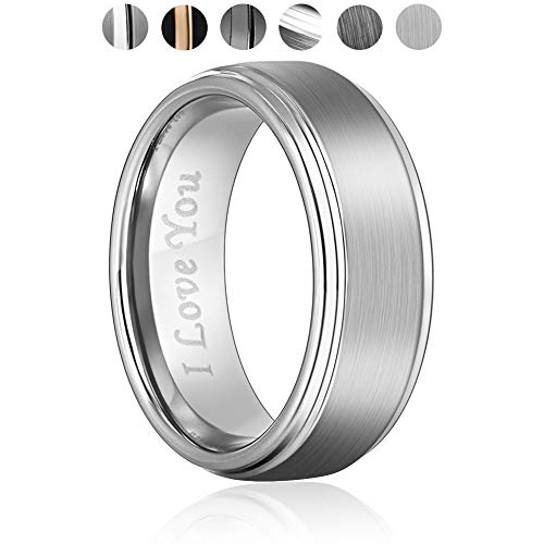 Angel King 8mm Tungsten Carbide Wedding Ring Engagement Band for Men Women-Black Matte Brushed Finished Comfort Fit Engraved 'I Love You'...