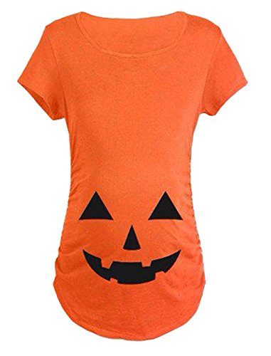 Maternity Halloween Pumpkin Print Short Sleeve Pregnancy Tee for Women size M/US L(Orange)