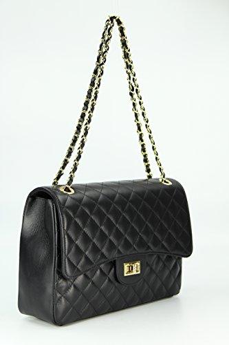 BELLI Paris Big ital. Echt Leder Handtasche Damentasche Umhängetasche Abendtasche gesteppt - 32x22x10 cm (B x H x T) Schwarz MHBYRp9as