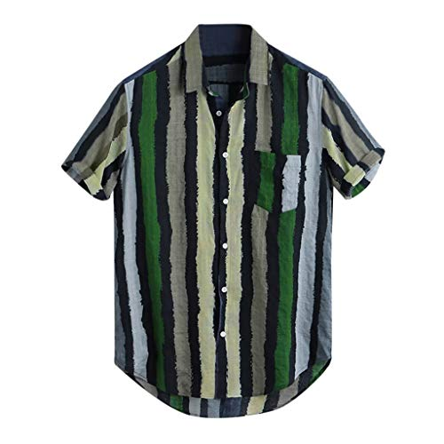 iHPH7 Shirts Hawaiian Button Down Dress Blouse Loose Multi Color Stripe Lump Chest Pocket Short Sleeve Men (L,Green) ()