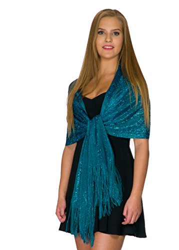 Shawls and Wraps for Evening Dresses, Wedding Shawl Wrap Fringes Scarf for Women Teal Blue Petal Rose