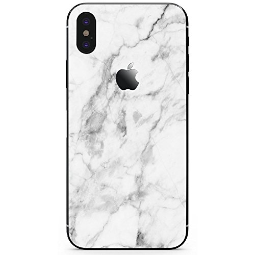 DowBier iPhone Bottom Decal Vinyl Skin Sticker Cover Anti-Scratch Decal for Apple iPhone (White Marble, iPhone X)