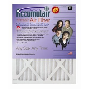 13x25x1 (12.5 x 24.5) Accumulair Diamond 1-Inch Filter (MERV 13) (4 Pack)