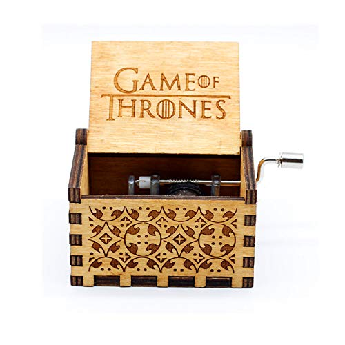 Hand Crank Wood Music Box,Game of Thrones Tune Handmade Laser Engraved Wooden Musical Box For Christmas/Birthday/Valentine's day (Game of Thrones) by Huntmic