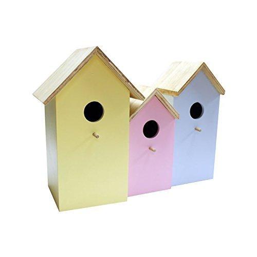 Lujoso 3 in 1 Colorido Adorno De Madera Casa De Pájaros Jardín Alimentador Tit Robin Bonnington Plastics BFNEST2