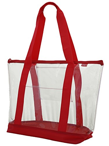 Clear ZIPPER tote with color trim and bottom, Red trim ()