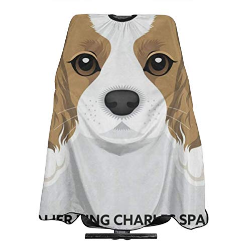 Cavalier King Charles Spaniel Puppy Funny Pets Professional Salon Cape Polyester Haircut Apron Hair Cut Cape Waterproof Hairdresser Wai Cloth Hairdressing Wrap for Adult/Women/Men