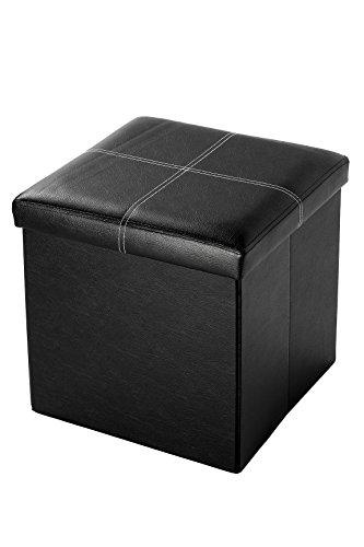 Faux, Folding, Wooden, Leather, Storage, Cube / Ottoman With Contrast Stitch Design 15 Inches, Black by Juvale
