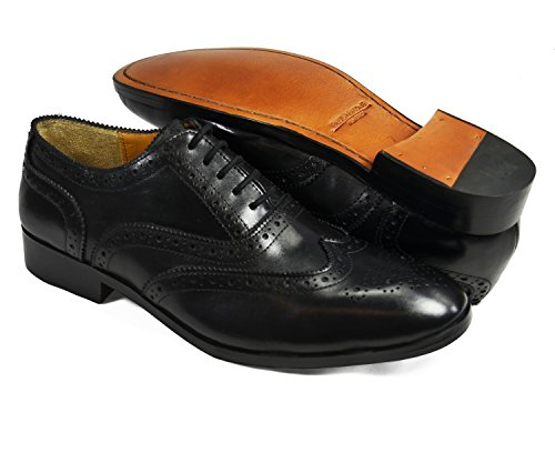 Svarte Vingespiss Oxfords Av Paul Malone. 100% Skinn Svart