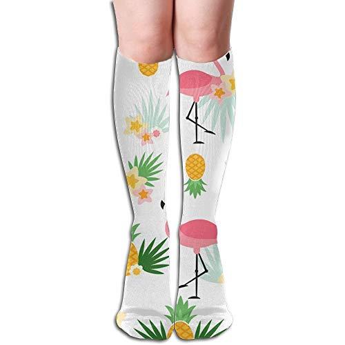 Holuday Knee High ty Sport Running Tube Socks,Pineapple & Flamingo Printed Dress Crew Socks